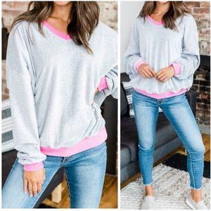 NWT Gray/Pink Velvet Oversized Sweatshirt | M